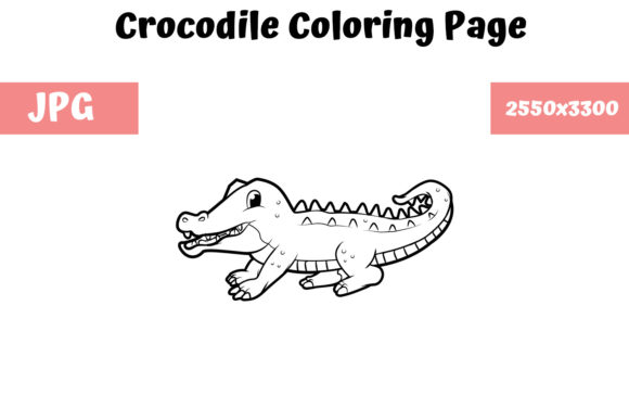 Download Free Coloring Book Page For Kids Crocodile Graphic By for Cricut Explore, Silhouette and other cutting machines.