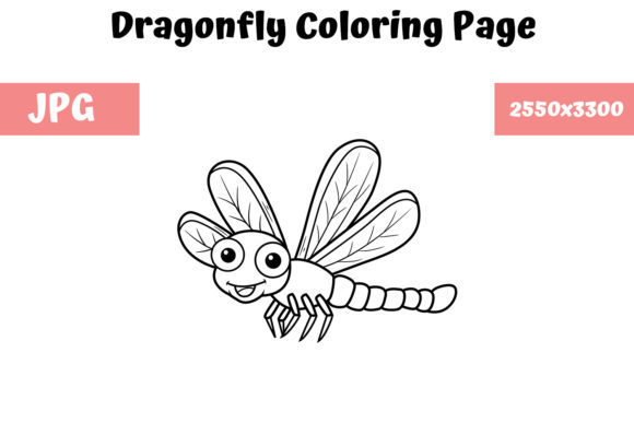 Print on Demand: Coloring Book Page for Kids - Dragonfly Graphic Coloring Pages & Books Kids By MyBeautifulFiles