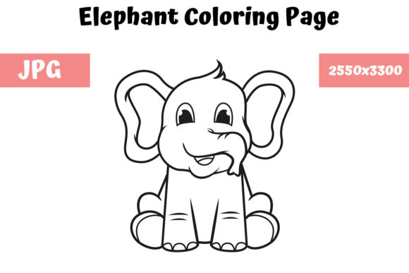 Download Free Coloring Book Page For Kids Elephant Graphic By for Cricut Explore, Silhouette and other cutting machines.
