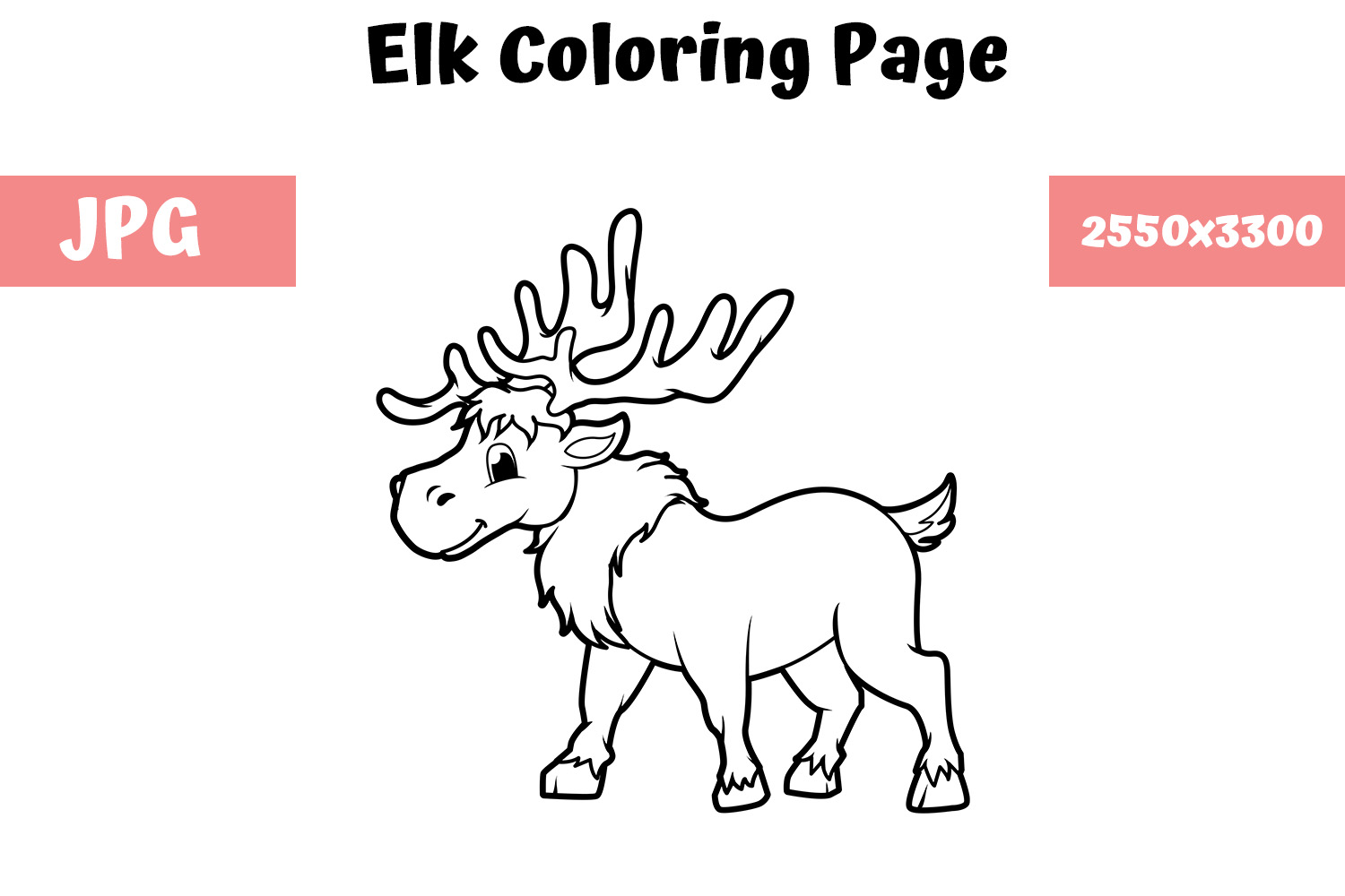 Download Free Coloring Book Page For Kids Elk Graphic By Mybeautifulfiles for Cricut Explore, Silhouette and other cutting machines.