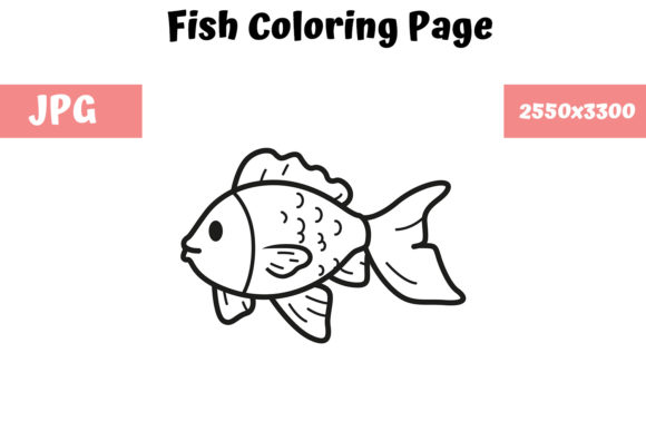 Download Free Coloring Book Page For Kids Fish Graphic By Mybeautifulfiles for Cricut Explore, Silhouette and other cutting machines.