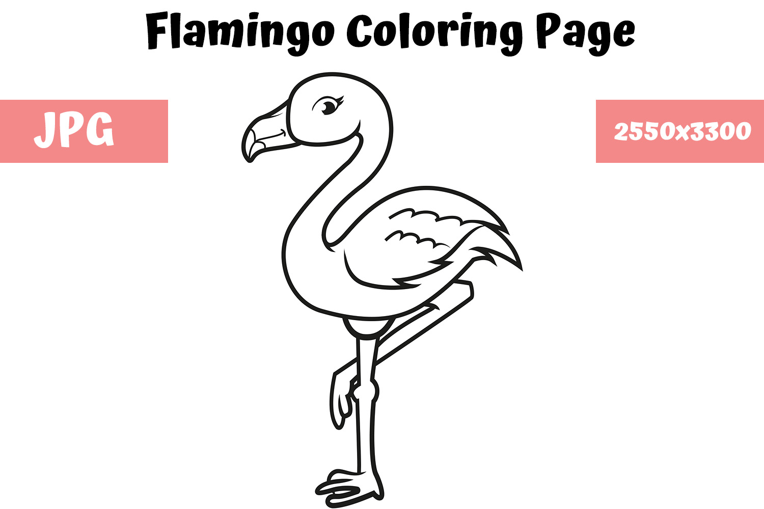 Coloring Book Page for Kids   Flamingo