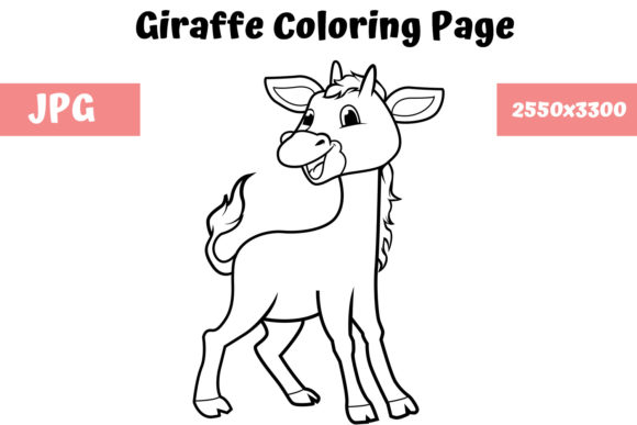 Coloring Book Page For Kids - Giraffe (Graphic) By MyBeautifulFiles ·  Creative Fabrica
