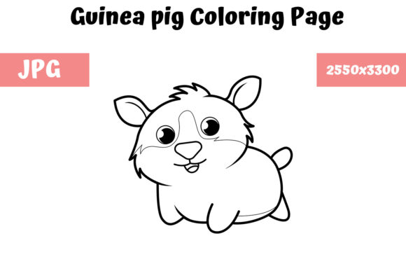 Download Free Coloring Book Page For Kids Guinea Pig Graphic By for Cricut Explore, Silhouette and other cutting machines.