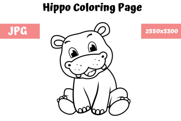 Download Free Coloring Book Page For Kids Hippo Graphic By Mybeautifulfiles for Cricut Explore, Silhouette and other cutting machines.