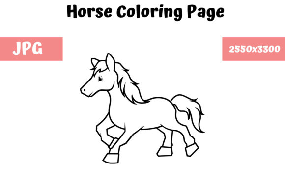 Print on Demand: Coloring Book Page for Kids - Horse Graphic Coloring Pages & Books Kids By MyBeautifulFiles
