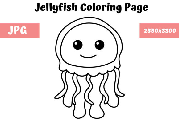 Download Free Coloring Book Page For Kids Jellyfish Graphic By Mybeautifulfiles Creative Fabrica for Cricut Explore, Silhouette and other cutting machines.