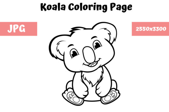 Print on Demand: Coloring Book Page for Kids - Koala Graphic Coloring Pages & Books Kids By MyBeautifulFiles