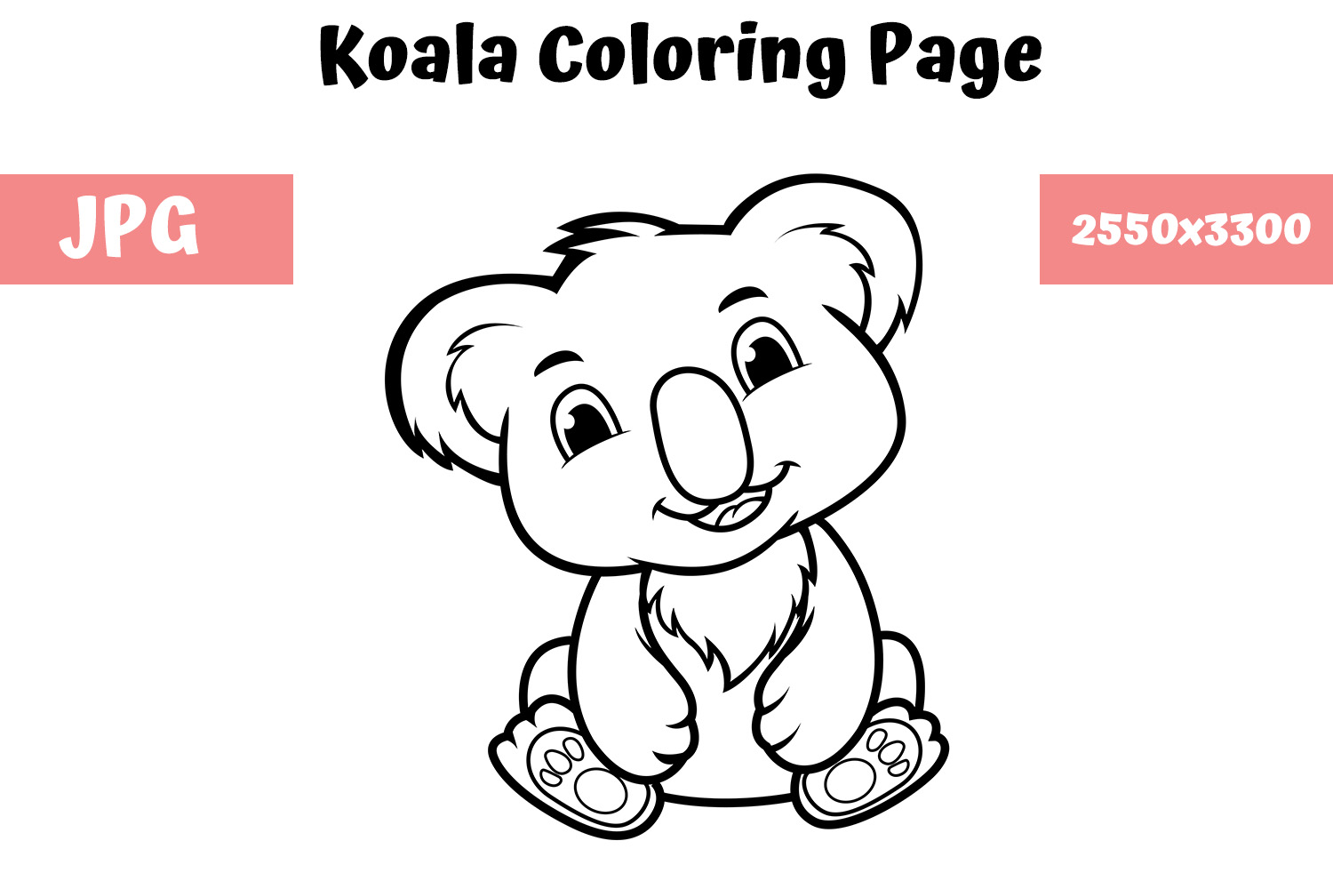 Download Free Coloring Book Page For Kids Koala Graphic By Mybeautifulfiles for Cricut Explore, Silhouette and other cutting machines.