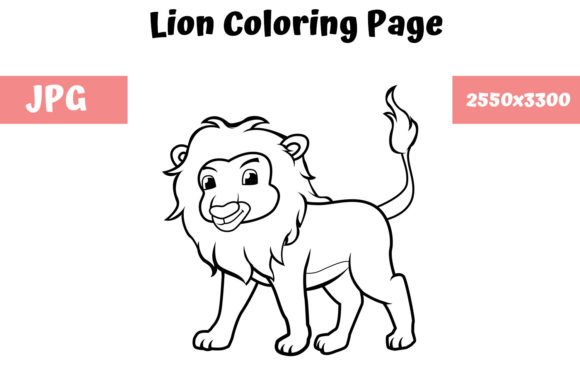 Download Free Coloring Book Page For Kids Lion Graphic By Mybeautifulfiles for Cricut Explore, Silhouette and other cutting machines.