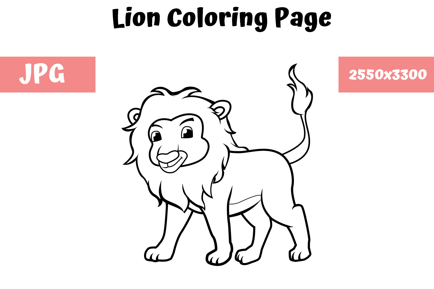 - Coloring Book Page For Kids - Lion (Graphic) By MyBeautifulFiles