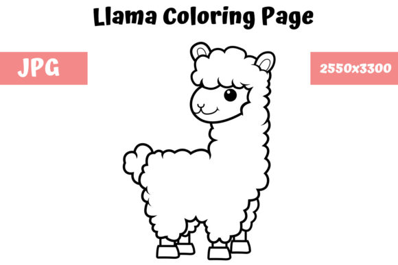 Coloring Book Page For Kids - Llama (Graphic) By MyBeautifulFiles ·  Creative Fabrica