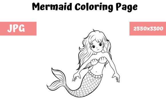 Print on Demand: Coloring Book Page for Kids - Mermaid Gráfico Libros para colorear - Niños Por MyBeautifulFiles