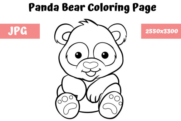 Print on Demand: Coloring Book Page for Kids - Panda Bear Graphic Coloring Pages & Books Kids By MyBeautifulFiles