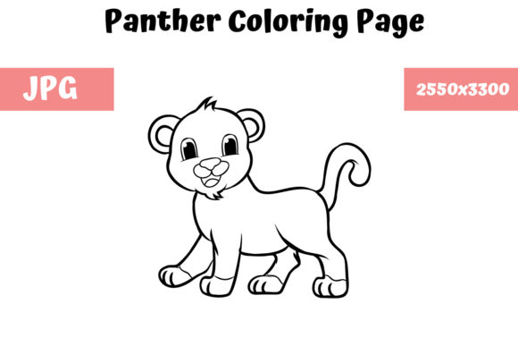 Download Free Coloring Book Page For Kids Panther Graphic By for Cricut Explore, Silhouette and other cutting machines.
