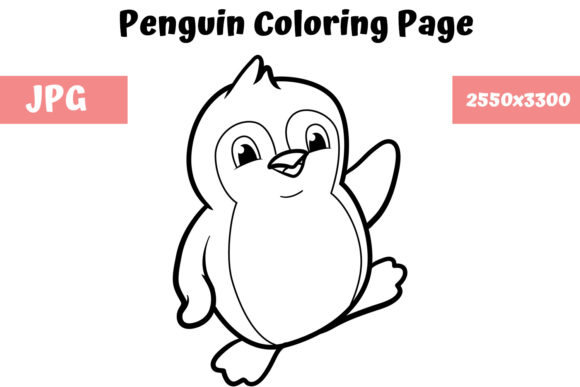 Download Free Coloring Book Page For Kids Penguin Graphic By for Cricut Explore, Silhouette and other cutting machines.