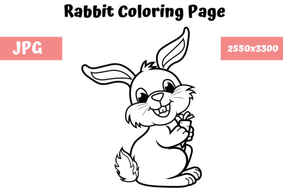 Download Free Coloring Book Page For Kids Rabbit Graphic By Mybeautifulfiles Creative Fabrica for Cricut Explore, Silhouette and other cutting machines.