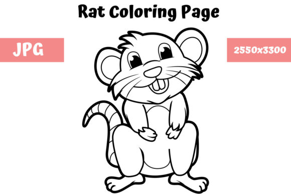 Download Free Coloring Book Page For Kids Rat Graphic By Mybeautifulfiles for Cricut Explore, Silhouette and other cutting machines.