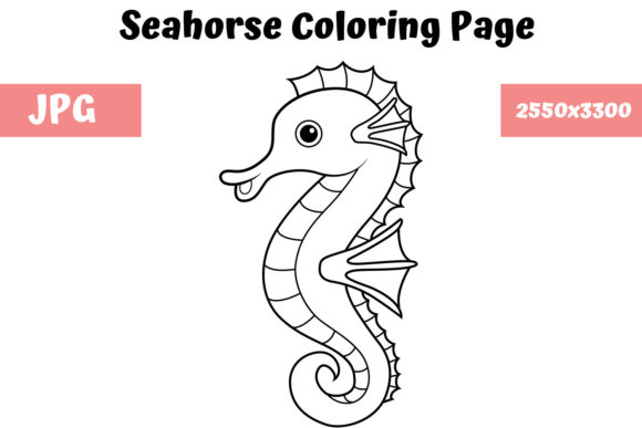 Coloring Book Page For Kids Seahorse Graphic By Mybeautifulfiles Creative Fabrica