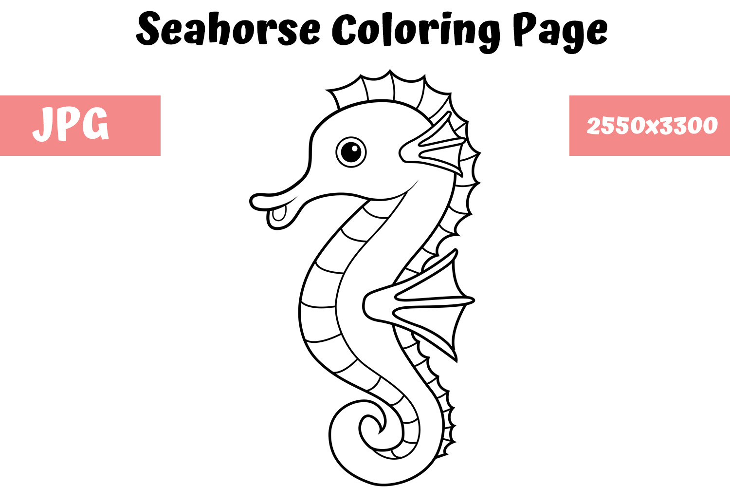 - Coloring Book Page For Kids - Seahorse (Graphic) By