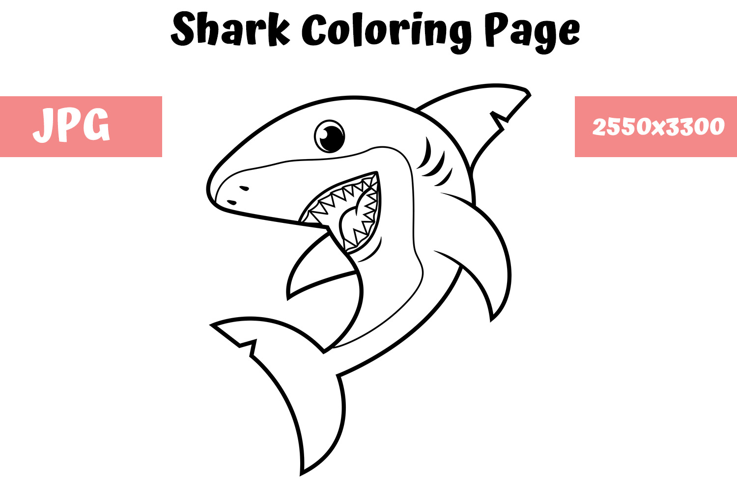 - Coloring Book Page For Kids - Shark (Graphic) By MyBeautifulFiles