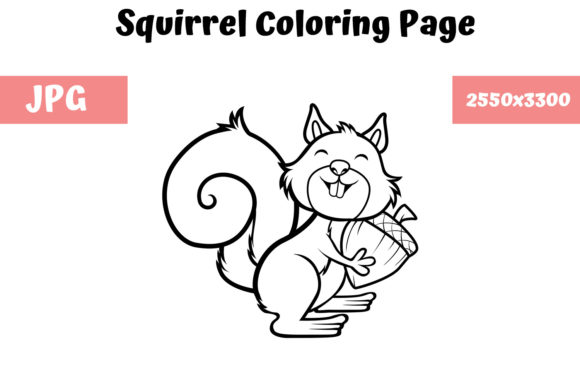 Print on Demand: Coloring Book Page for Kids - Squirrel Graphic Coloring Pages & Books Kids By MyBeautifulFiles