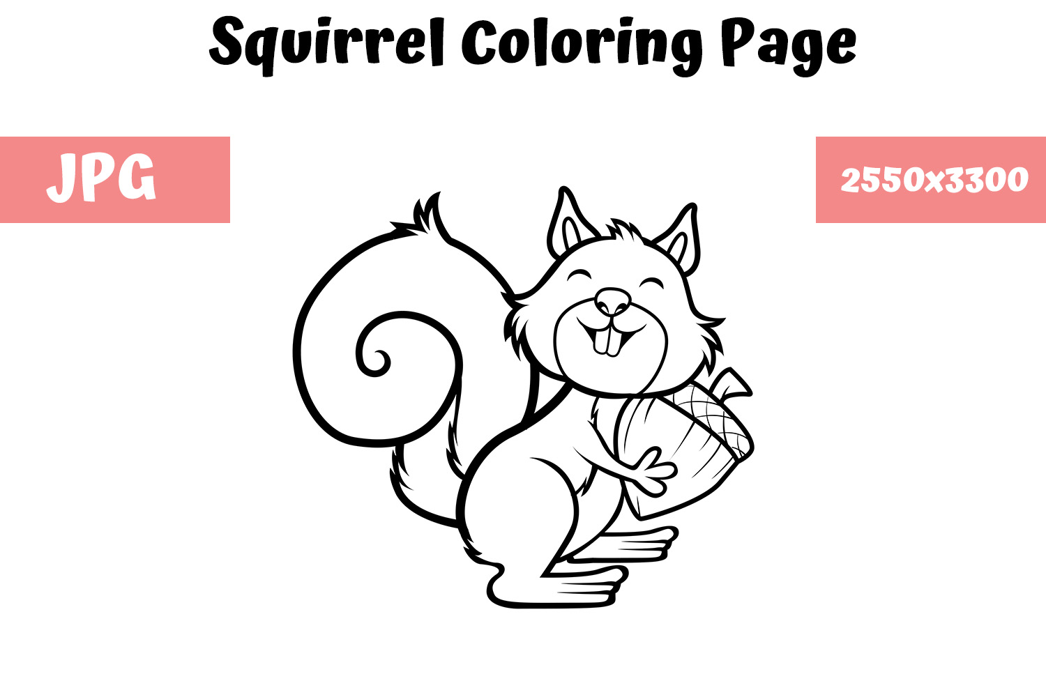 Download Free Coloring Book Page For Kids Squirrel Graphic By for Cricut Explore, Silhouette and other cutting machines.
