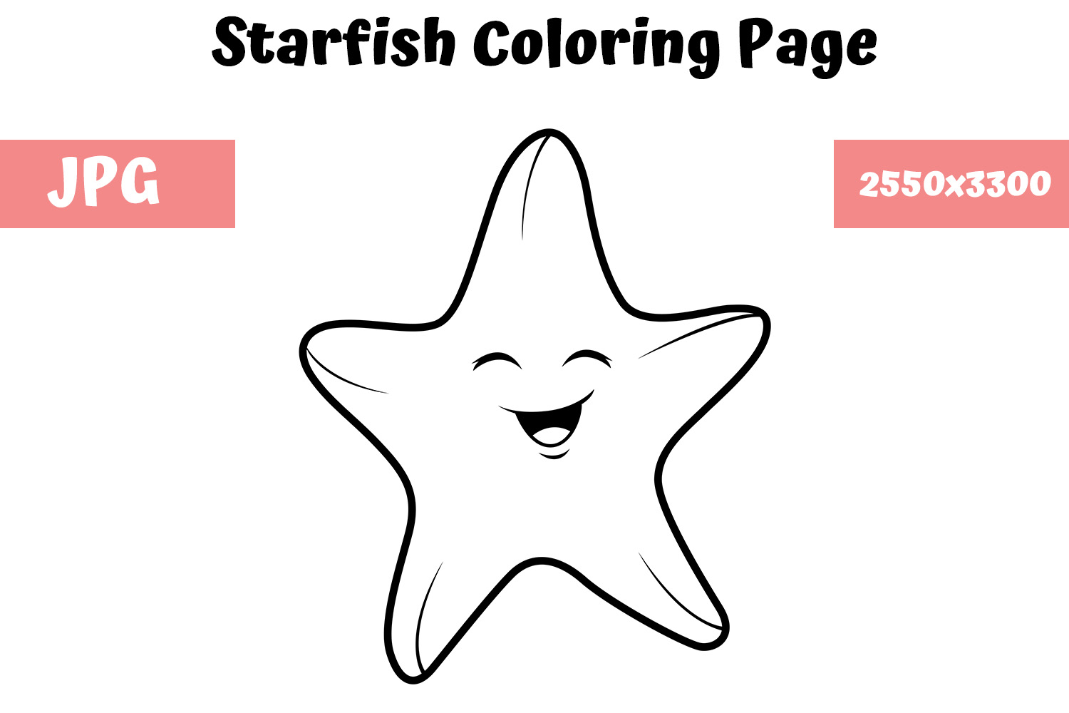 Coloring Book Page For Kids Starfish Graphic By Mybeautifulfiles Creative Fabrica