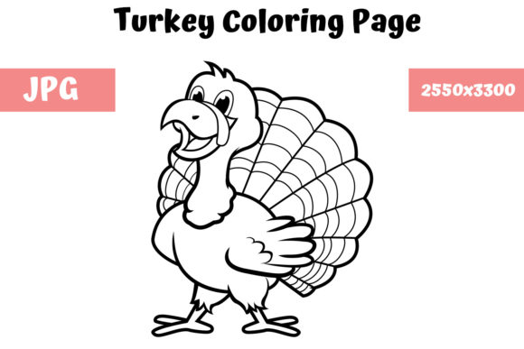 Print on Demand: Coloring Book Page for Kids - Turkey Graphic Coloring Pages & Books Kids By MyBeautifulFiles