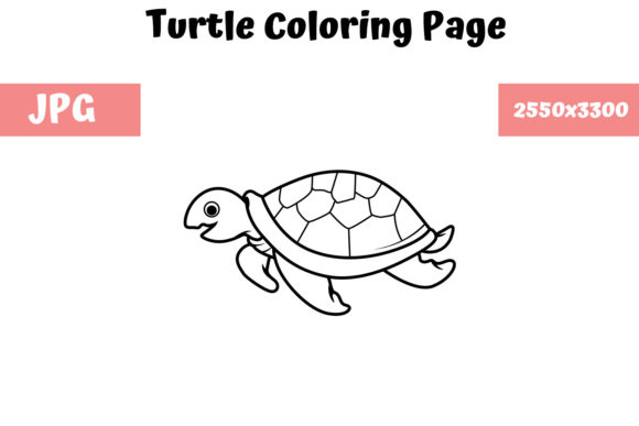 Print on Demand: Coloring Book Page for Kids - Turtle 1 Graphic Coloring Pages & Books Kids By MyBeautifulFiles
