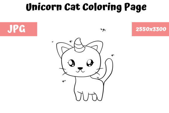 Download Free Coloring Book Page For Kids Unicorn Cat Graphic By for Cricut Explore, Silhouette and other cutting machines.