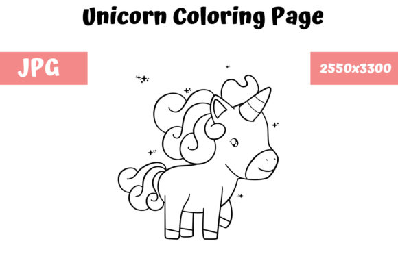 Download Free Coloring Book Page For Kids Unicorn Graphic By for Cricut Explore, Silhouette and other cutting machines.
