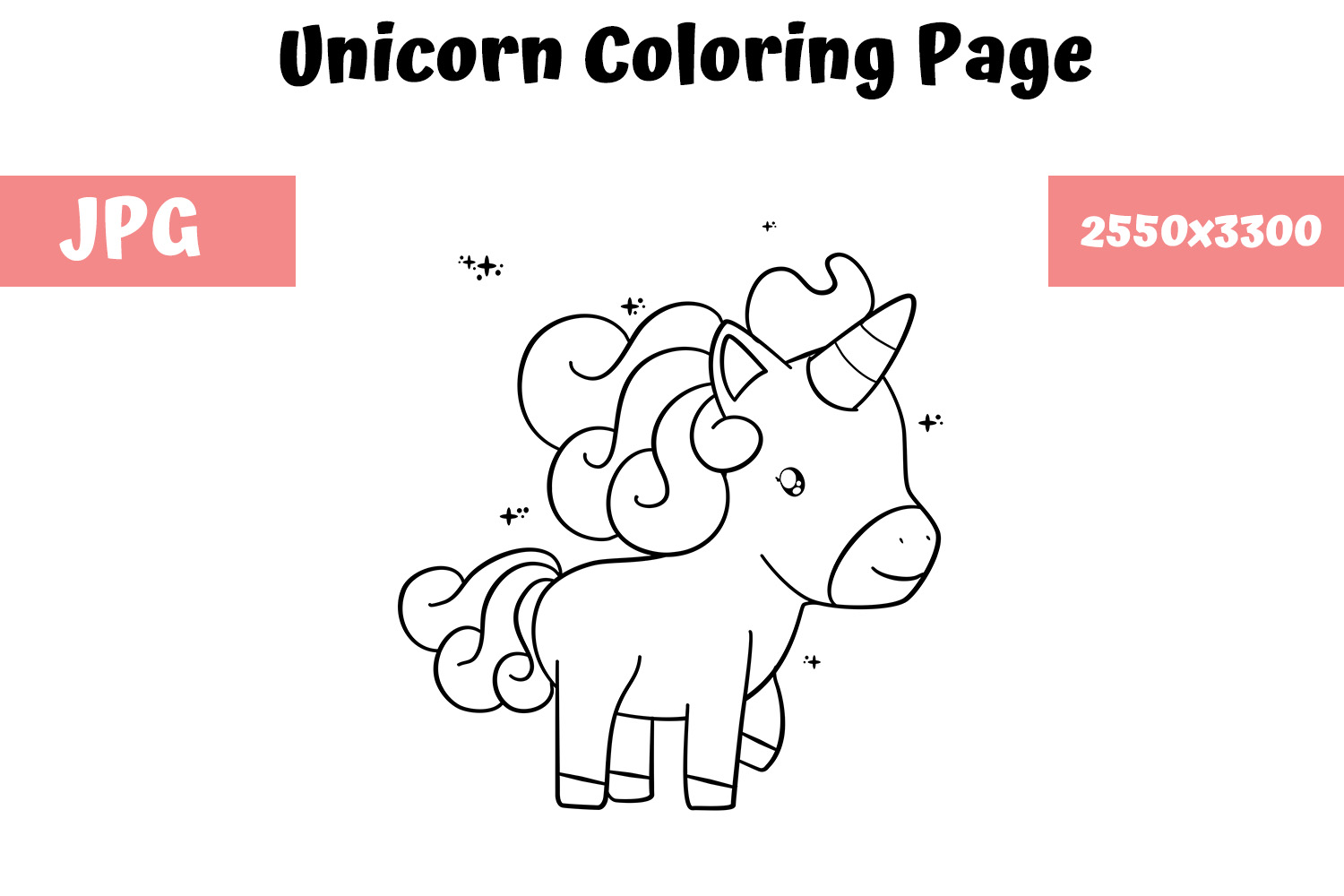 Download Free Coloring Book Page For Kids Unicorn Graphic By Mybeautifulfiles Creative Fabrica for Cricut Explore, Silhouette and other cutting machines.
