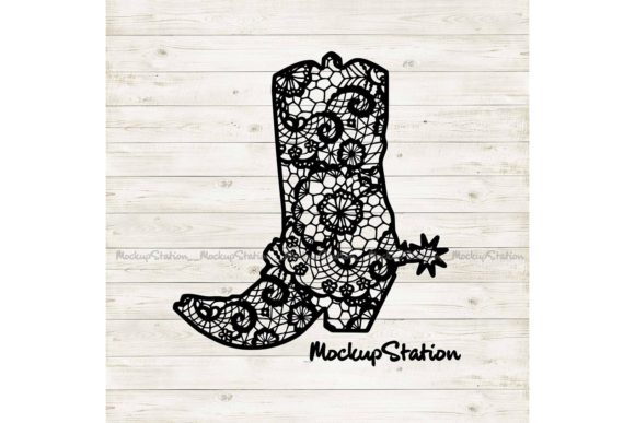 Print on Demand: Cowboy Boot Lace Mandala Southern   Gráfico Crafts Por Mockup Station