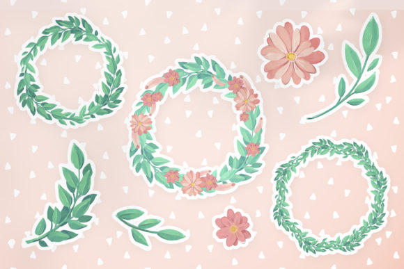 Cute Wreaths And Flowers Graphic By Digi Potwor Creative Fabrica