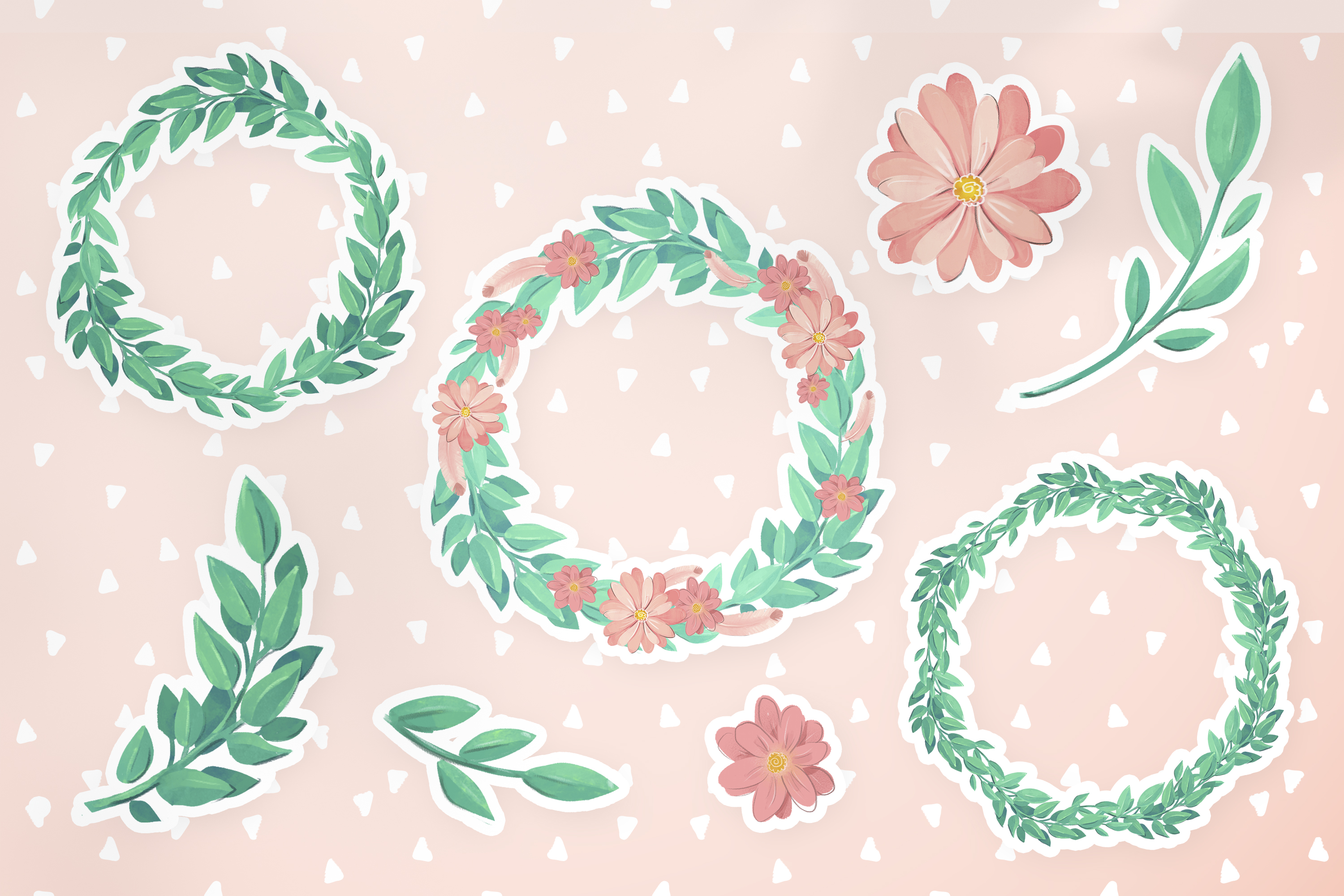 Download Free Cute Wreaths And Flowers Graphic By Digi Potwor Creative Fabrica for Cricut Explore, Silhouette and other cutting machines.