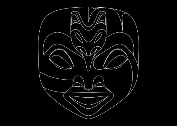 Download Free Ethnic Mask White 1 Graphic By Studioisamu Creative Fabrica for Cricut Explore, Silhouette and other cutting machines.