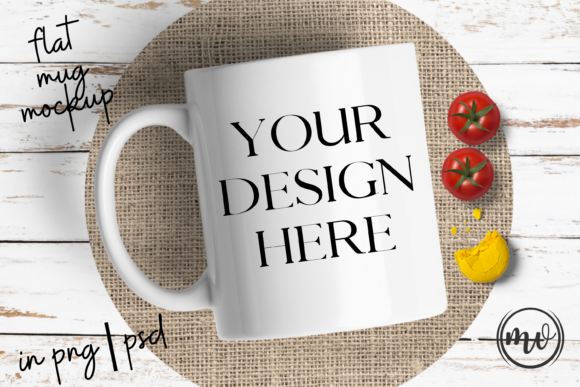 Download Free Flat Mug Mock Up White Graphic By Mockup Venue Creative Fabrica for Cricut Explore, Silhouette and other cutting machines.