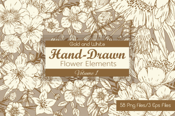 Gold and White Hand Drawn Flower Elements Graphic
