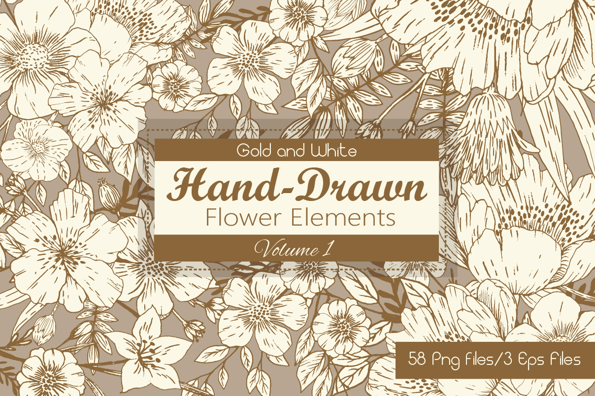 Download Free Gold And White Hand Drawn Flower Elements Graphic By Jm Graphics for Cricut Explore, Silhouette and other cutting machines.