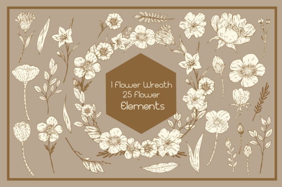 Gold and White Hand Drawn Flower Elements Graphic Design