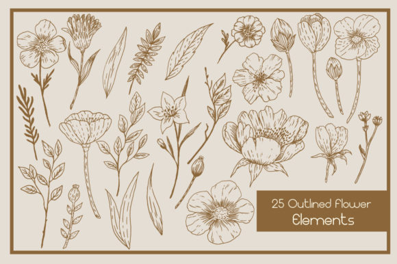 Gold and White Hand Drawn Flower Elements Graphic Preview