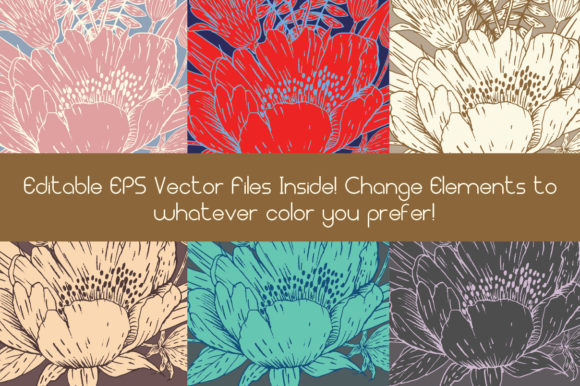 Gold and White Hand Drawn Flower Elements Graphic Image