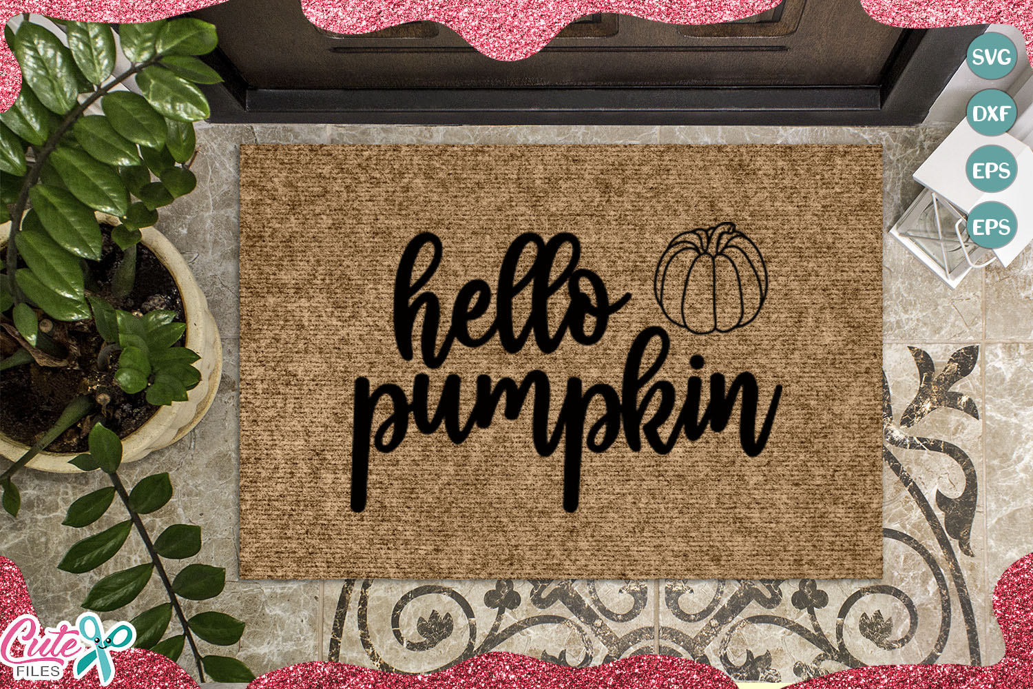 Download Free Hello Pumpkin Doormat Graphic By Cute Files Creative Fabrica for Cricut Explore, Silhouette and other cutting machines.