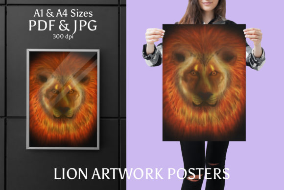 Download Free Lion Artwork Poster In A1 A4 Sizes Graphic By Jata Arts for Cricut Explore, Silhouette and other cutting machines.