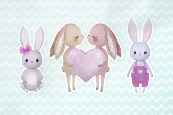 Download Free Lovely Bunnies Set Graphic By Digi Potwor Creative Fabrica for Cricut Explore, Silhouette and other cutting machines.