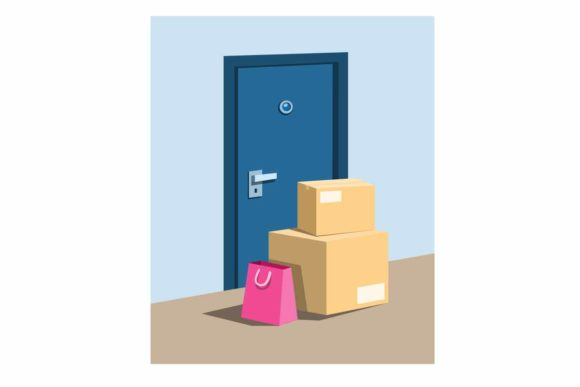 Print on Demand: Package Parcel and Shopping Bag in Door Graphic Illustrations By aryo.hadi