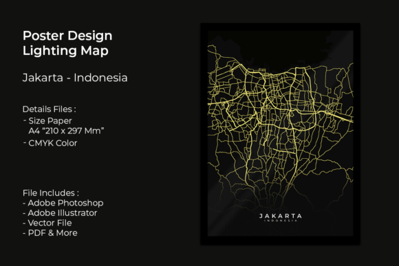 Poster Design Lighting Map Jakarta Graphic Print Templates By fadilahridwan69