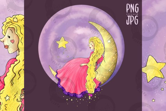 Download Free Princess On The Moon Graphic By Jen Digital Art Creative Fabrica for Cricut Explore, Silhouette and other cutting machines.