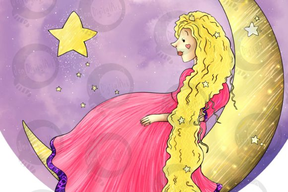 Download Free Princess On The Moon Graphic By Jen Digital Art Creative Fabrica SVG Cut Files